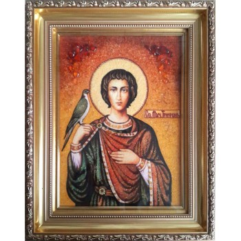 Святой мученик Трифон - икона из янтаря (ар-298)