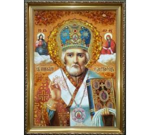 Святий Миколай Чудотворець - Ікона з янтаря, ручна робота, 40*60 см (ар-16/1)