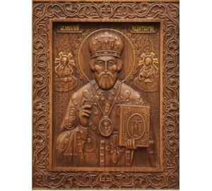 Святий Миколай Чудотворець - різьблена ікона з натурального дерева (р-26)