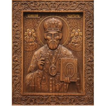 Святой Николай Чудотворец - резная икона из натурального дерева (р-26)