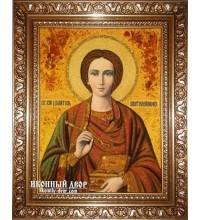 Святий Пантелеймон-цілитель - Ікона ручної роботи з бурштину (ар-41)