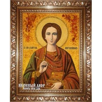 Святой Пантелеймон-целитель - Икона ручной работы из янтаря (ар-41)