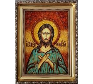 Святой преподобный Алексий, человек Божий - икона с янтарем (ар-69)