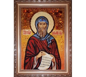 Святой Преподобный Антоний Великий - икона из янтаря (ар-379)