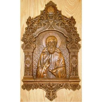 Святой Преподобный Сергий Радонежский - Изысканная резная икона (р-04)