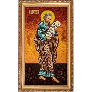 Святой пророк Елисей - икона с янтарем (ар-155)