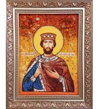 Святой равноапостольный царь Константин - именная икона из янтаря (ар-371)