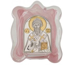 Святий Спиридон Триміфунтський - Ікона в муранском склі з сріблом та позолотою (EK1MAG - Спиридон Триміфунтський)