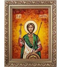 Святой Валентин - икона из янтаря, ручная работа (ар-74)