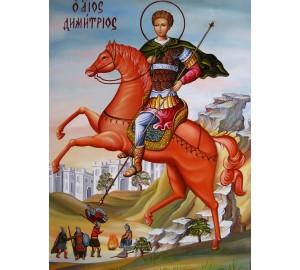 Святой великомученик Дмитрий Солунский - писаная икона (Гр-88)