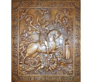 Святий великомученик Георгій Побідоносець - Різьблена дерев'яна ікона (р-03)
