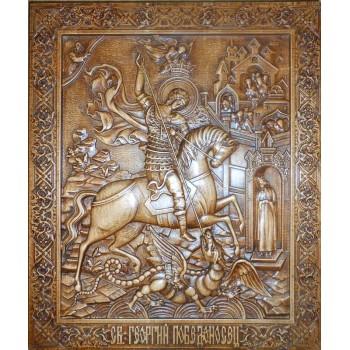 Святой великомученик Георгий Победоносец - Резная деревянная икона (р-03)