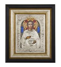 Святий великомученик і цілитель Пантелеймон - ікона з сріблом та позолотою (Юо-22)