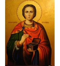 Святой Великомученик и целитель Пантелеймон - писаная икона (Гр-37)