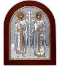 Святі Олена і Костянтин - Ікона з сріблом та позолотою (GOLD)