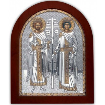 Святые Елена и Константин - Икона с серебром и позолотой (GOLD)