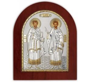 Святые Косма и Дамиан - Икона в деревянной арочной рамке, Греция (GOLD)