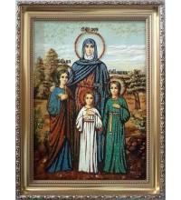 Святые мученицы Вера, Надежда, Любовь и мать их София - икона с янтарем (ар-83)