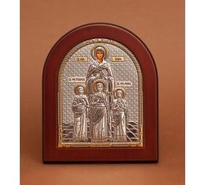Святі мучениці Віра, Надія, Любов і Софія - Ікона з Греції з сріблом та позолотою (GOLD)