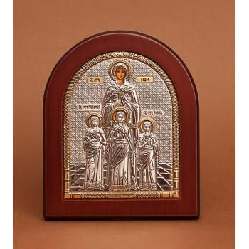 Святые мученицы Вера, Надежда, Любовь и София - Икона из Греции с серебром и позолотой (GOLD)