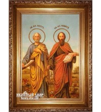 Святые Первоверховные Апостолы Петр и Павел - икона из янтаря ручной работы (ар-192)