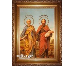 Святі Первоверховные Апостоли Петро і Павло - ікона з бурштину ручної роботи (ар-192)