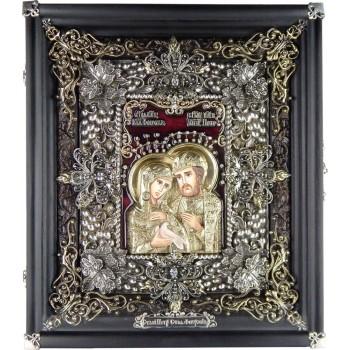Святые Петр и Феврония - Эксклюзивная икона ручной работы (Ос-ПФ13)