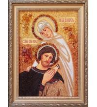 Святые Петр и Феврония Муромские, покровители семьи - икона с янтарем (ар-367)