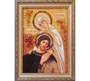 Святі Петро і Февронія Муромські, покровителі родини - ікона з бурштином (ар-367)