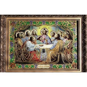 Тайная вечеря - эксклюзивная икона с объемной росписью на стекле (Ст-02)