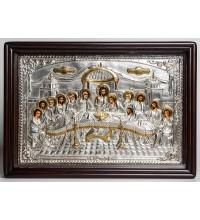 Таємна вечеря - ексклюзивна ікона писана з сріблом та позолотою (хм-122)