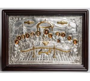 Тайная вечеря - эксклюзивная писаная икона с серебром и позолотой (хм-122)