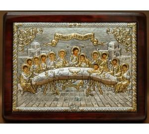Тайная Вечеря - икона премиум-класса с серебром  (E126)