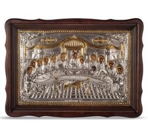 Тайная вечеря - икона с серебром (хм-123)