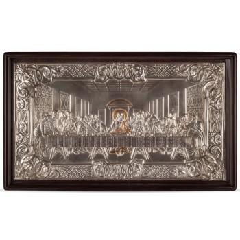 Тайная вечеря - икона с серебром и позолотой (хм-95)
