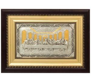 Тайная Вечеря - красивая икона с золотом и серебром (k-09)