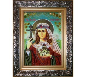 Тамара - именная икона ручной работы из янтаря (ар-217)