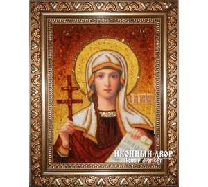 Татьяна Мученица - Именная икона ручной работы из янтаря (ар-109)