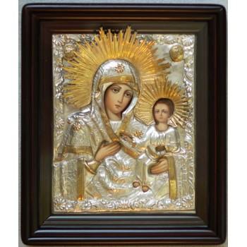 Тихвинская икона Божьей Матери - Писаная икона в серебряном окладе (хм-11)