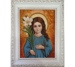 Трилетствующая икона Божьей Матери - икона из янтаря (ар-340)