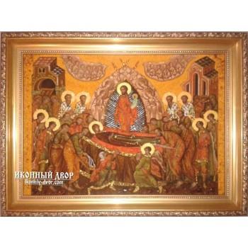 Успение Пресвятой Богородицы - икона из янтаря (ар-170)