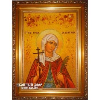 Валентина - чудесная янтарная икона ручной работы (ар-173)