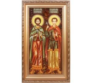 Валерий Мелитинский и Валерий Севастийский - икона из янтаря, ручная работа (ар-241)
