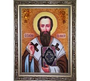 Василий Великий - икона из янтаря, ручная работа (ар-263)