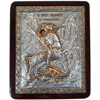 Великолепная икона Святой Георгий Победоносец - икона с серебром и позолотой (B926-Георгий)