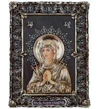 Великолепная настольная икона Божья Матерь Семистрельная (Ос-МБС33)