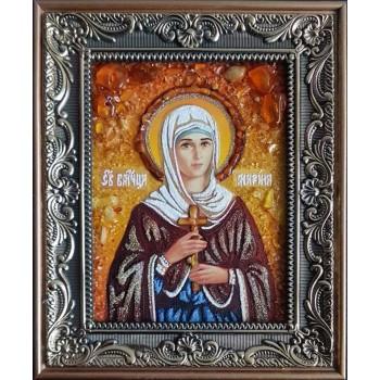 Великомученица Марина (Маргарита) Антиохийская - икона из янтаря (ар-358)