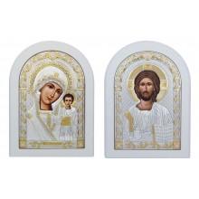 Вінчальна пара Іісус Христос і Божа Матір Казанська (White)