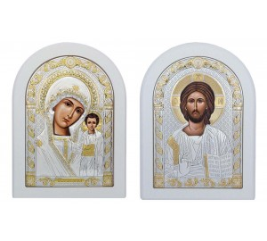 Венчальная пара Иисус Христос и Божья Матерь Казанская (White)