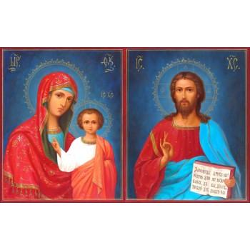 Венчальная пара икон для венчания Спаситель и Божья Матерь Казанская - писаные иконы (Ир-21/1)